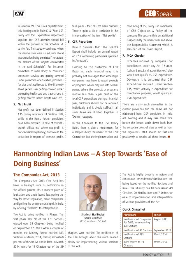 7policy watch CEOSpeak in Schedule VII. CSR Rules departed from this thinking and in Rule (6)  (7) on CSR Policy and CSR E...