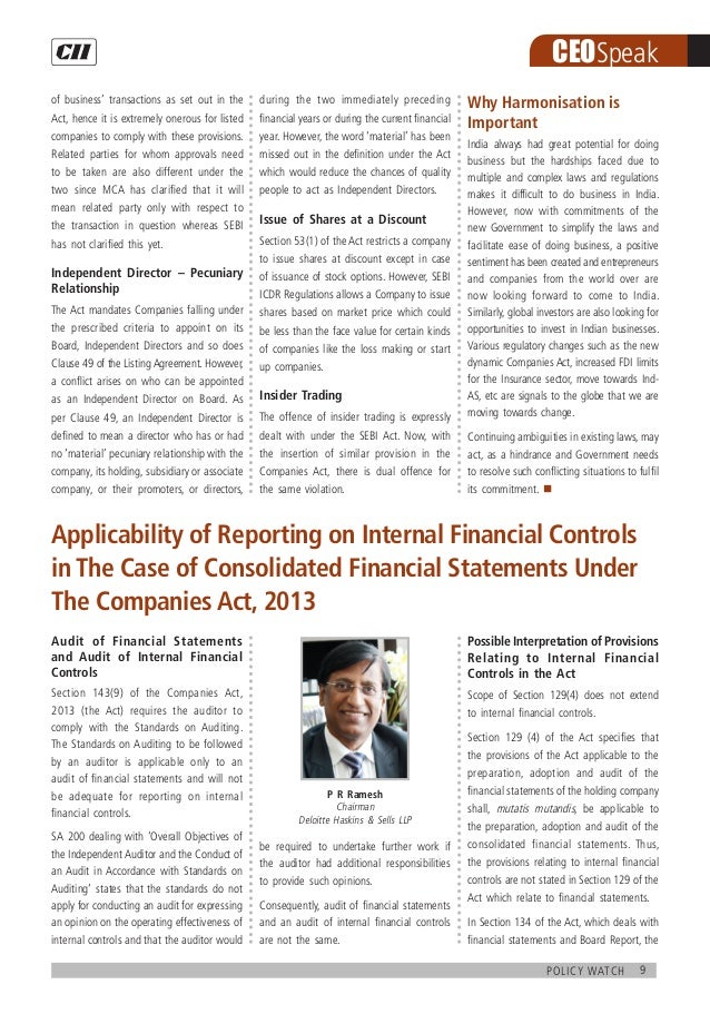 9policy watch CEOSpeak Audit of Financial Statements and Audit of Internal Financial Controls Section 143(9) of the Compan...