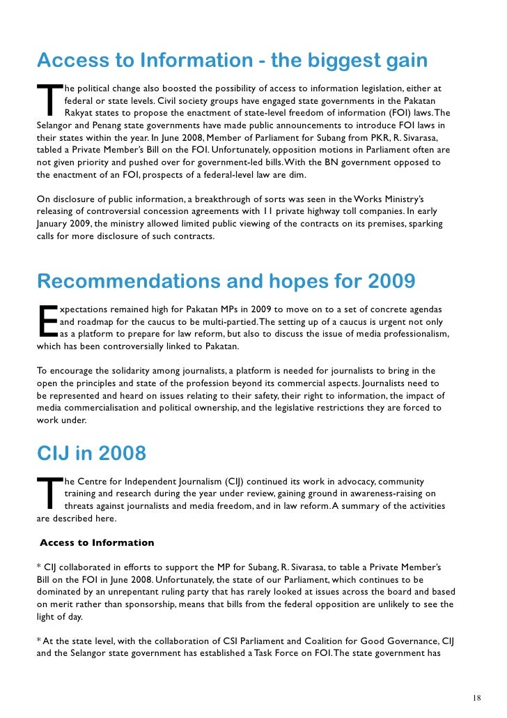 Freedom Of Expression In Malaysia In 2008: An Annual Review By Cij