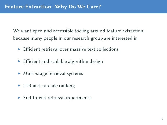 Feature Extraction for Large-Scale Text Collections Slide 2