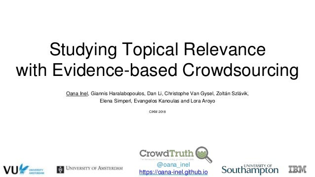 Studying Topical Relevance with Evidence-based Crowdsourcing Oana Inel, Giannis Haralabopoulos, Dan Li, Christophe Van Gys...