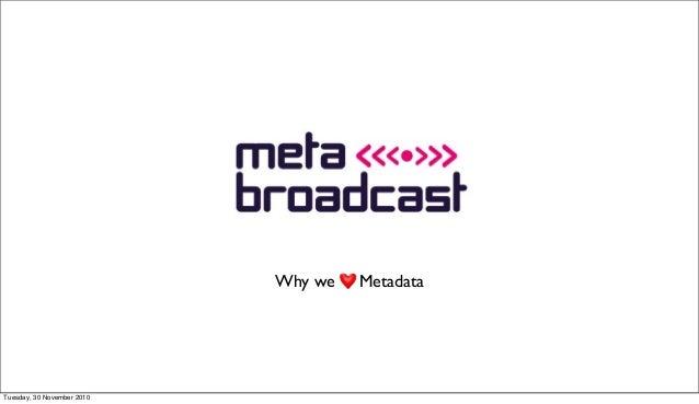 Why we Metadata Tuesday, 30 November 2010