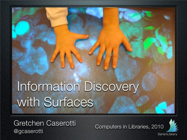 Information Discovery  with Surfaces Gretchen Caserotti   Computers in Libraries, 2010 @gcaserotti