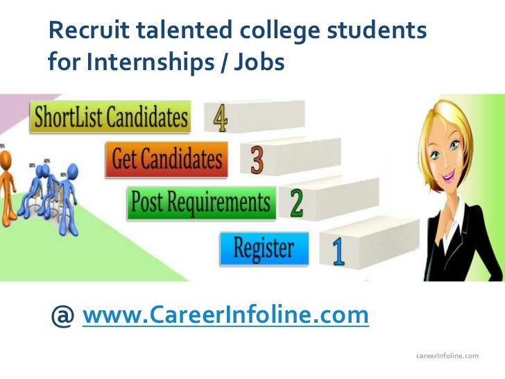 Recruit talented college studentsfor Internships / Jobs@ www.CareerInfoline.com                                careerInfol...