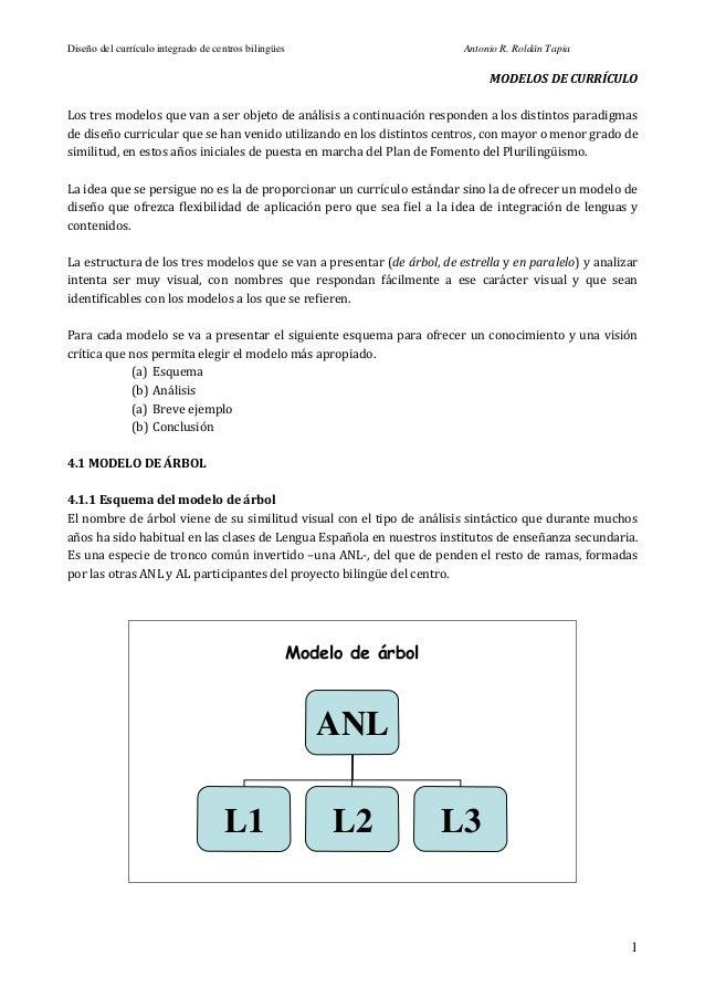 Diseño del currículo integrado de centros bilingües                      Antonio R. Roldán Tapia                          ...