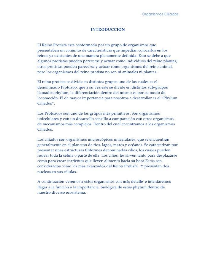 Organismos Ciliados                                   INTRODUCCION                                         ElReinoProt...