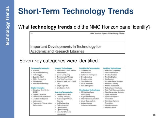 Short-Term Technology Trends What technology trends did the NMC Horizon panel identify? 18 Seven key categories were ident...