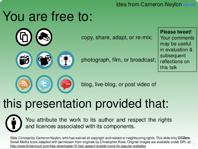 3 3 You are free to: copy, share, adapt, or re-mix; photograph, film, or broadcast; blog, live-blog, or post video of this...