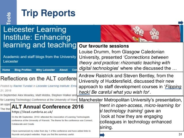 Trip Reports • What topics are covered at conferences • What topics interested my peers 31 Tools Our favourite sessions Lo...