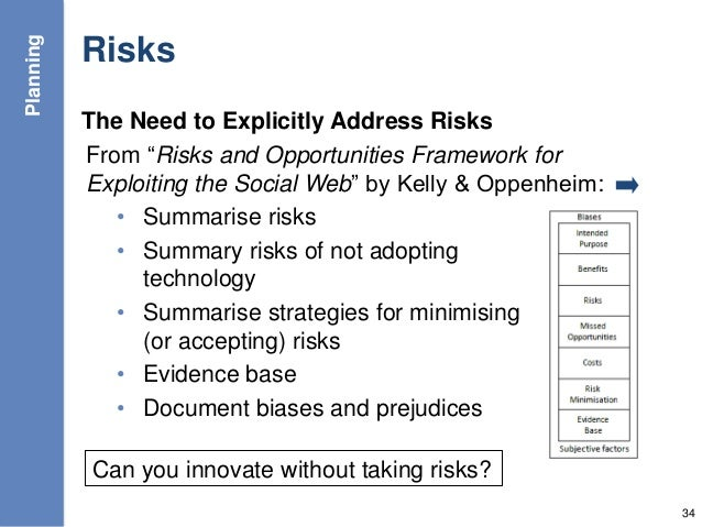 """Risks The Need to Explicitly Address Risks From """"Risks and Opportunities Framework for Exploiting the Social Web"""" by Kelly..."""