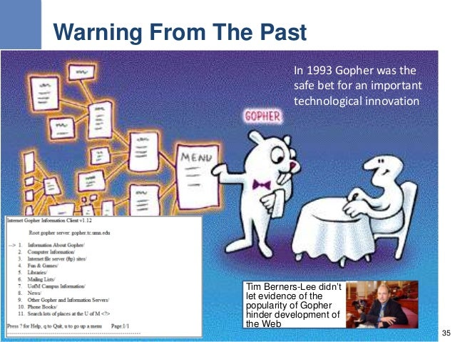 Warning From The Past Tim Berners-Lee didn't let evidence of the popularity of Gopher hinder development of the Web 35 In ...