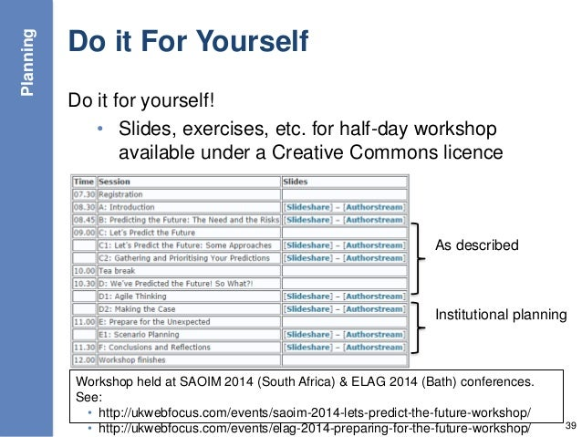 Do it For Yourself Do it for yourself! • Slides, exercises, etc. for half-day workshop available under a Creative Commons ...