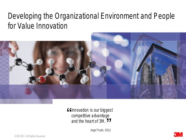 1 © 3M 2013. All Rights Reserved. Developing the Organizational Environment and People for Value Innovation Innovation is ...