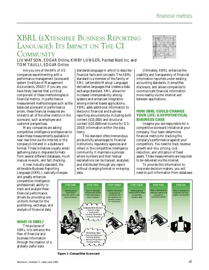 financial metricsXBRL (EXTENSIBLE BUSINESS REPORTINGLANGUAGE): ITS IMPACT ON THE CICOMMUNITYLIV WATSON, EDGAR Online, KIRB...