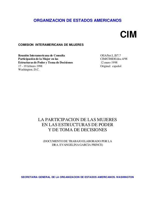 ORGANIZACION DE ESTADOS AMERICANOS CIM COMISION INTERAMERICANA DE MUJERES Reunión Interamericana de Consulta OEA/Ser.L.II/...