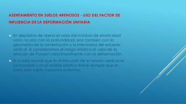 ASENTAMIENTO EN SUELOS ARENOSOS - USO DEL FACTOR DE INFLUENCIA DE LA DEFORMACIÓN UNITARIA  En depósitos de arena el valor...