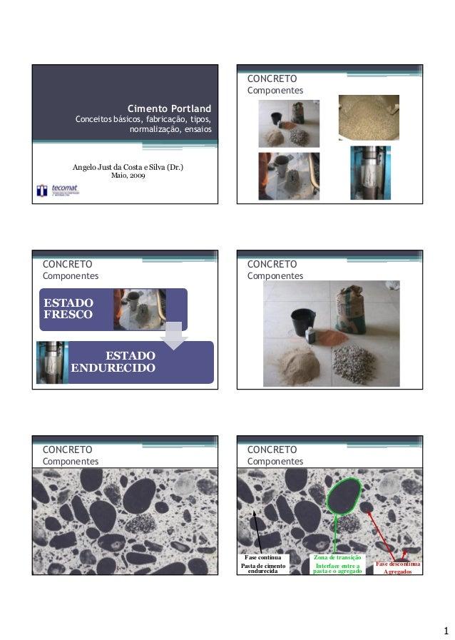 1 Cimento Portland Conceitos básicos, fabricação, tipos, normalização, ensaios Angelo Just da Costa e Silva (Dr.) Maio, 20...