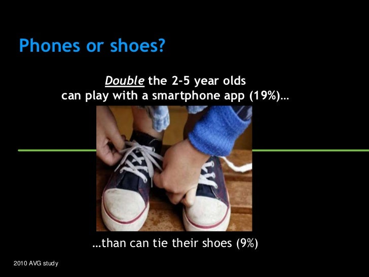 Phones or shoes?                        Double the 2-5 year olds                 can play with a smartphone app (19%)…    ...