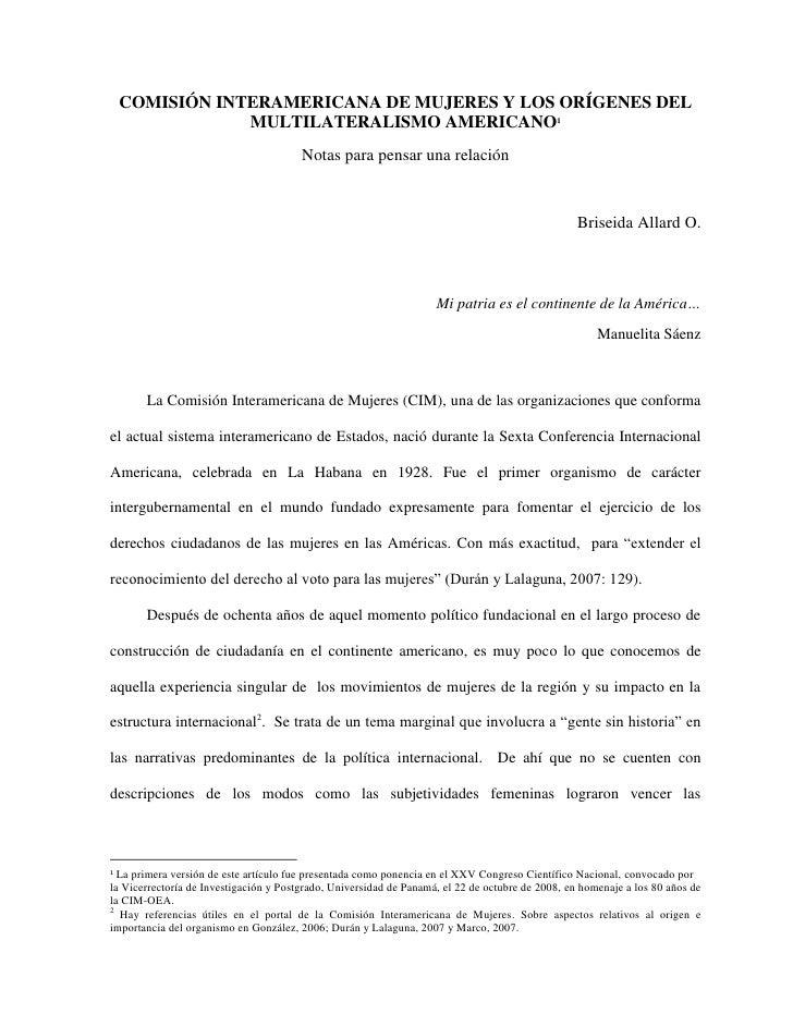 COMISIÓN INTERAMERICANA DE MUJERES Y LOS ORÍGENES DEL                 MULTILATERALISMO AMERICANO1                         ...