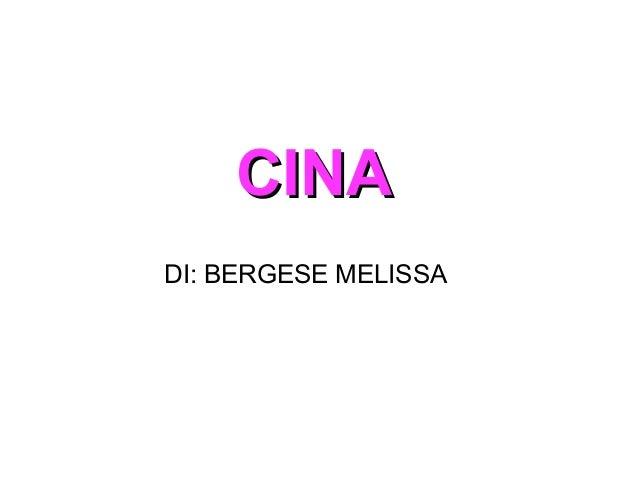 CINACINA DI: BERGESE MELISSA