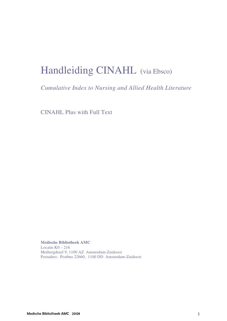 Handleiding CINAHL                                 (via Ebsco)       Cumulative Index to Nursing and Allied Health Literat...