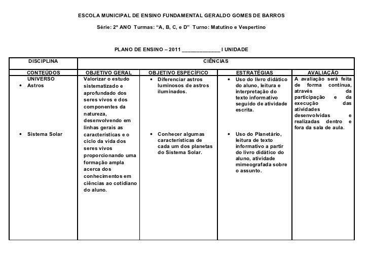 """ESCOLA MUNICIPAL DE ENSINO FUNDAMENTAL GERALDO GOMES DE BARROS                          Série: 2º ANO Turmas: """"A, B, C, e ..."""