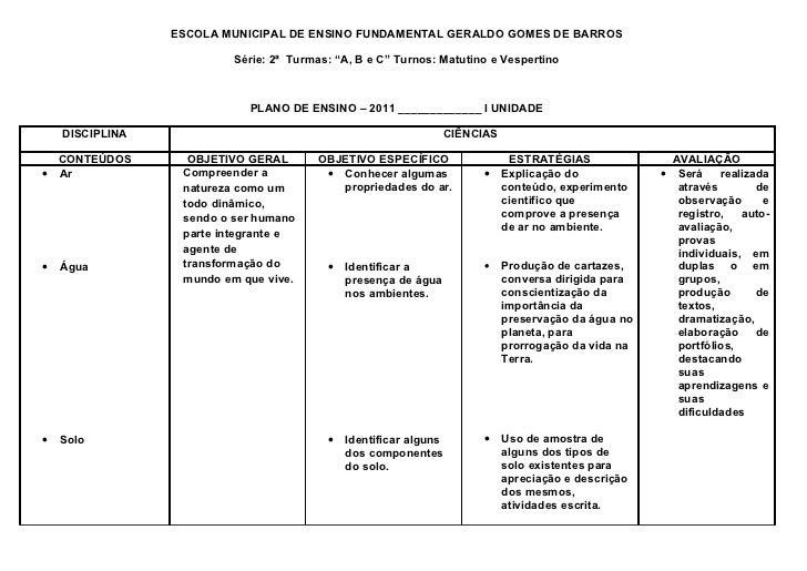 """ESCOLA MUNICIPAL DE ENSINO FUNDAMENTAL GERALDO GOMES DE BARROS                          Série: 2ª Turmas: """"A, B e C"""" Turno..."""