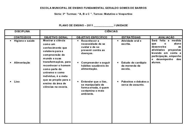 """ESCOLA MUNICIPAL DE ENSINO FUNDAMENTAL GERALDO GOMES DE BARROS                             Série: 3ª Turmas: """"A, B e C """". ..."""