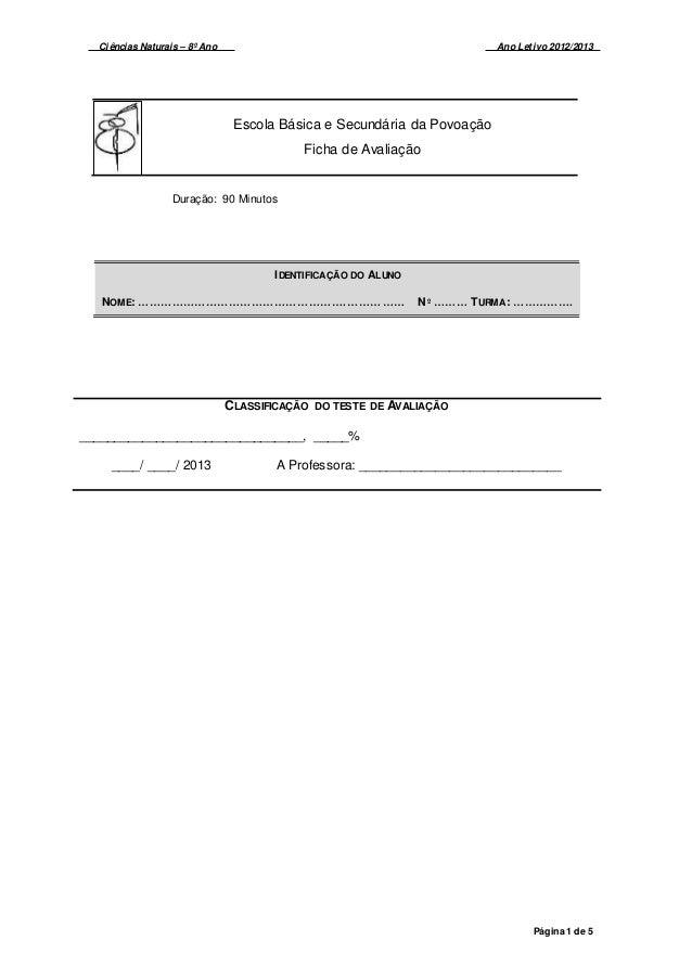 Ciências Naturais – 8º Ano Ano Letivo 2012/2013 Página 1 de 5 Escola Básica e Secundária da Povoação Ficha de Avaliação Du...