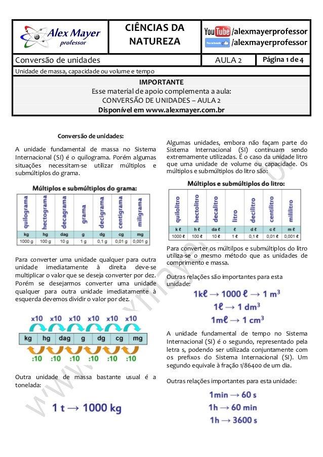 . CIÊNCIAS DA NATUREZA . Conversão de unidades AULA 2 Página 1 de 4 Unidade de massa, capacidade ou volume e tempo IMPORTA...
