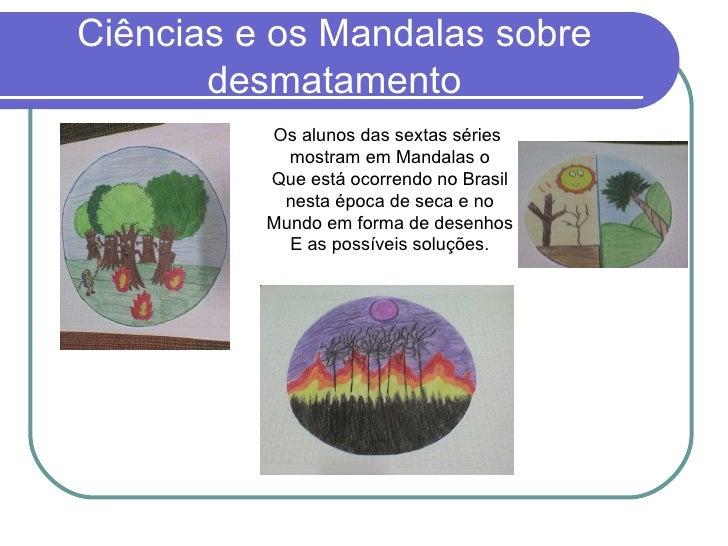 Ciências e os Mandalas sobre desmatamento Os alunos das sextas séries  mostram em Mandalas o Que está ocorrendo no Brasil ...