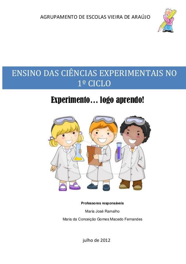 AGRUPAMENTO DE ESCOLAS VIEIRA DE ARAÚJO ENSINO DAS CIÊNCIAS EXPERIMENTAIS NO 1º CICLO Experimento… logo aprendo! Professor...