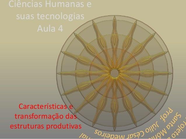 Ciências Humanas e suas tecnologias Aula 4 Características e transformação das estruturas produtivas
