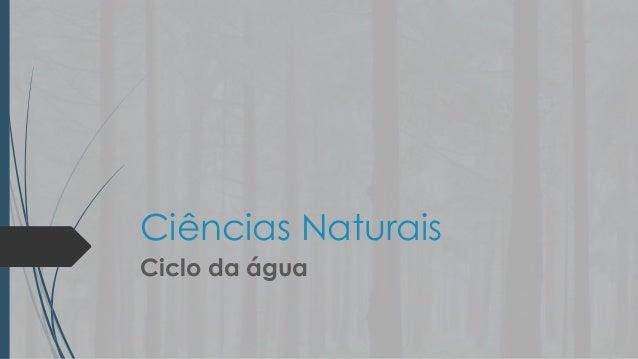 Ciências Naturais Ciclo da água