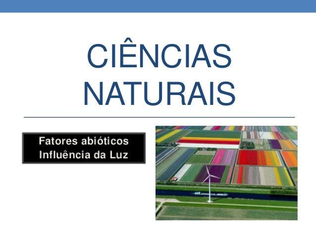 CIÊNCIAS NATURAIS Fatores abióticos Influência da Luz