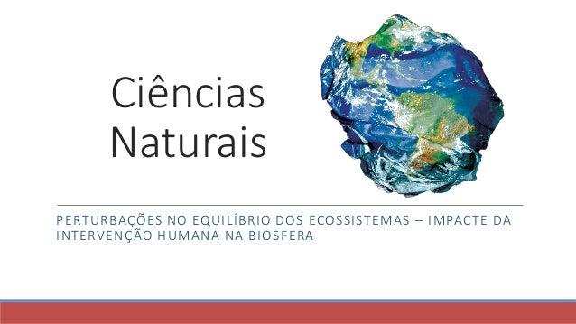 Ciências Naturais PERTURBAÇÕES NO EQUILÍBRIO DOS ECOSSISTEMAS – IMPACTE DA INTERVENÇÃO HUMANA NA BIOSFERA