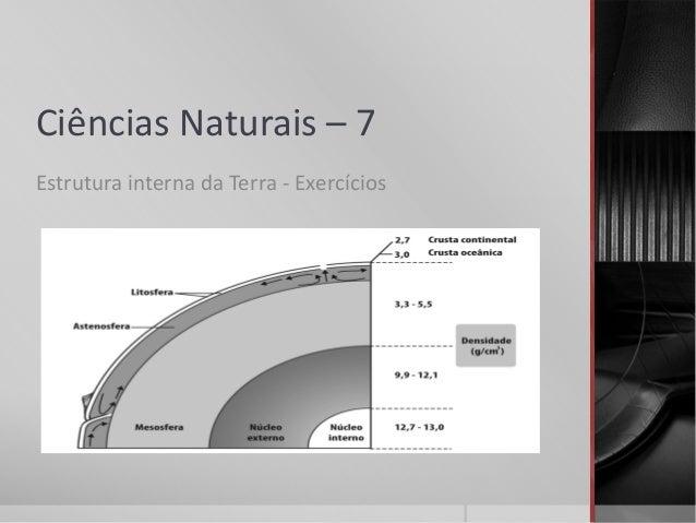 Ciências Naturais – 7Estrutura interna da Terra - Exercícios