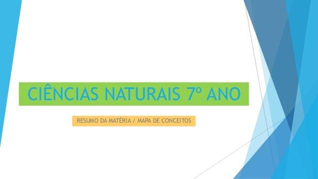 CIÊNCIAS NATURAIS 7º ANO RESUMO DA MATÉRIA / MAPA DE CONCEITOS