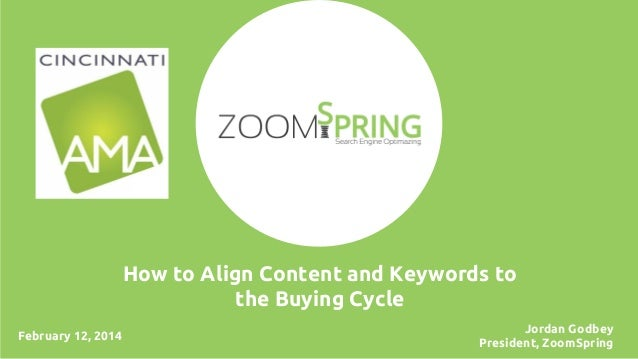 How to Align Content and Keywords to the Buying Cycle February 12, 2014  Jordan Godbey President, ZoomSpring
