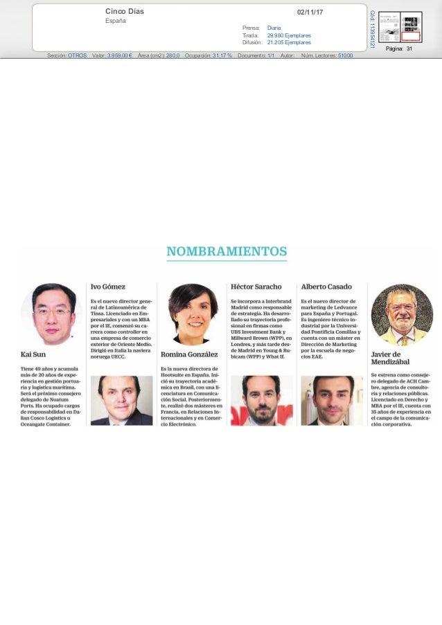 02/11/17Cinco Días España Prensa: Diaria Tirada: 29.980 Ejemplares Difusión: 21.205 Ejemplares Página: 31 Sección: OTROS V...