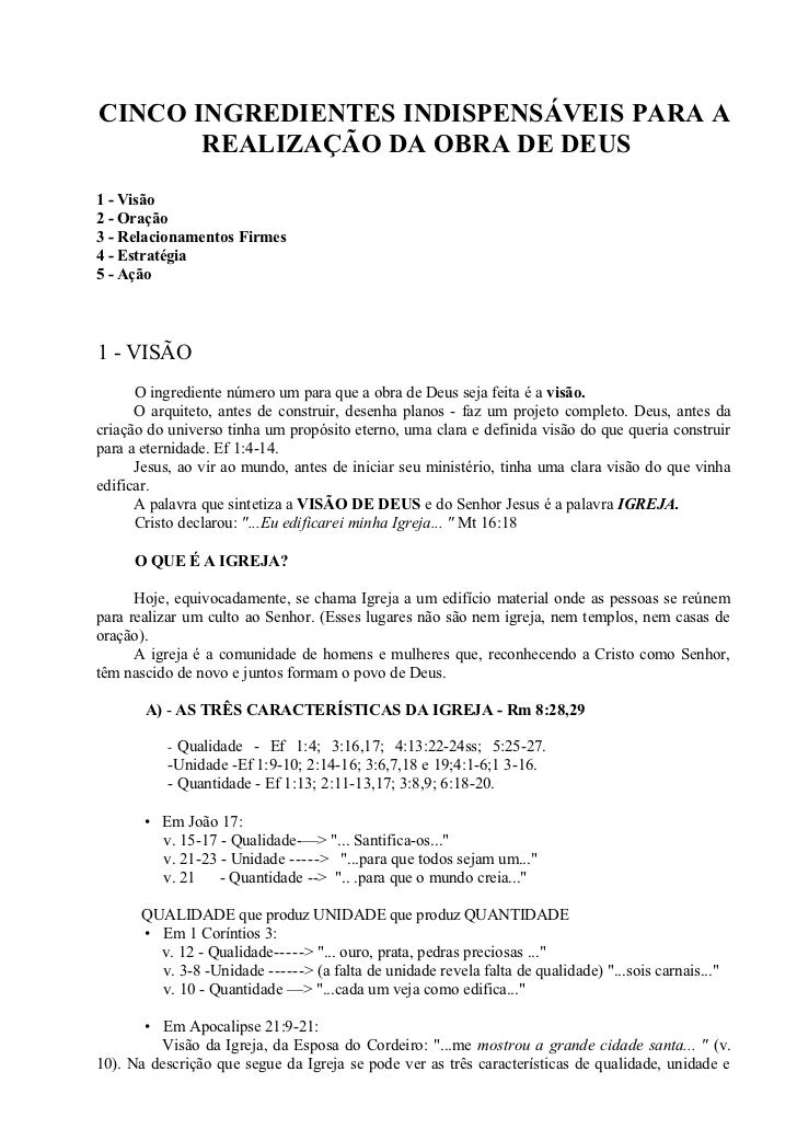 CINCO INGREDIENTES INDISPENSÁVEIS PARA A       REALIZAÇÃO DA OBRA DE DEUS1 - Visão2 - Oração3 - Relacionamentos Firmes4 - ...