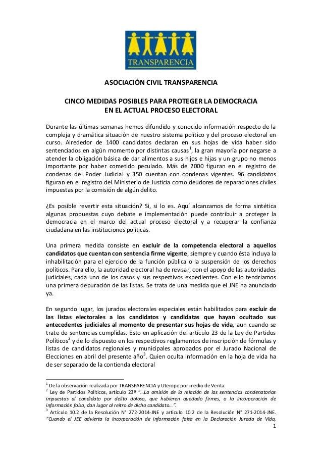 1 ASOCIACIÓN CIVIL TRANSPARENCIA CINCO MEDIDAS POSIBLES PARA PROTEGER LA DEMOCRACIA EN EL ACTUAL PROCESO ELECTORAL Durante...