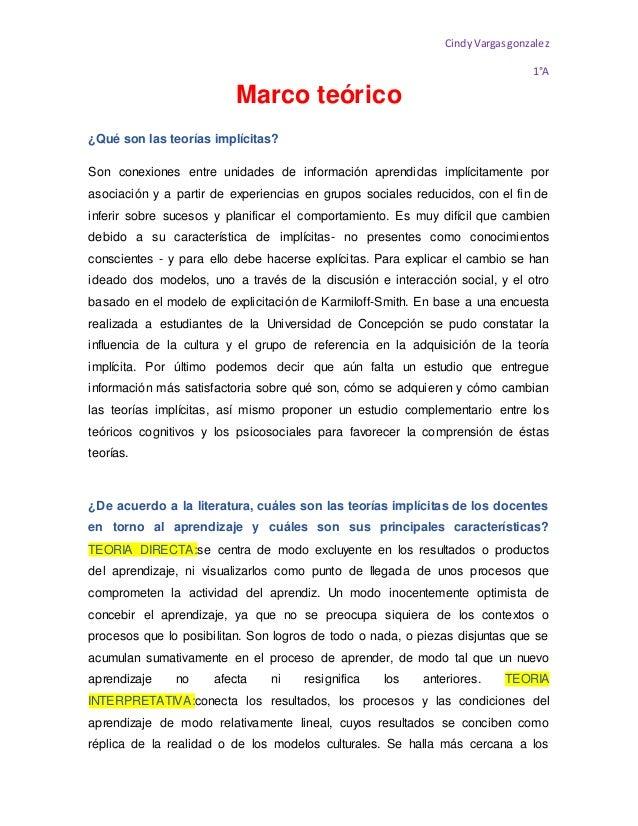 CindyVargasgonzalez 1°A Marco teórico ¿Qué son las teorías implícitas? Son conexiones entre unidades de información aprend...