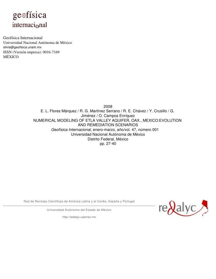 Geofísica Internacional Universidad Nacional Autónoma de México silvia@geofisica.unam.mx ISSN (Versión impresa): 0016-7169...