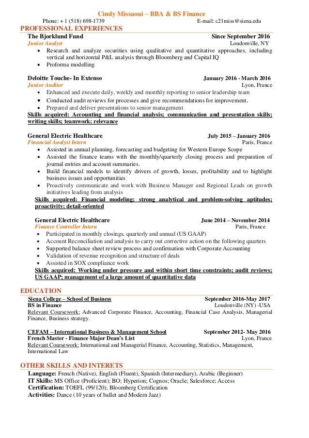 finance major resumes