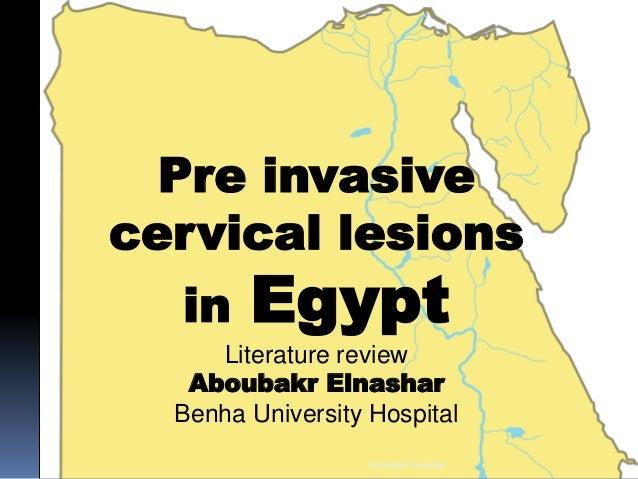 Pre invasive cervical lesions in Egypt Literature review Aboubakr Elnashar Benha University Hospital Aboubakr Elnashar