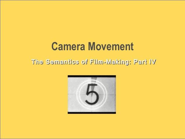 Camera Movement The Semantics of Film-Making: Part IVThe Semantics of Film-Making: Part IV