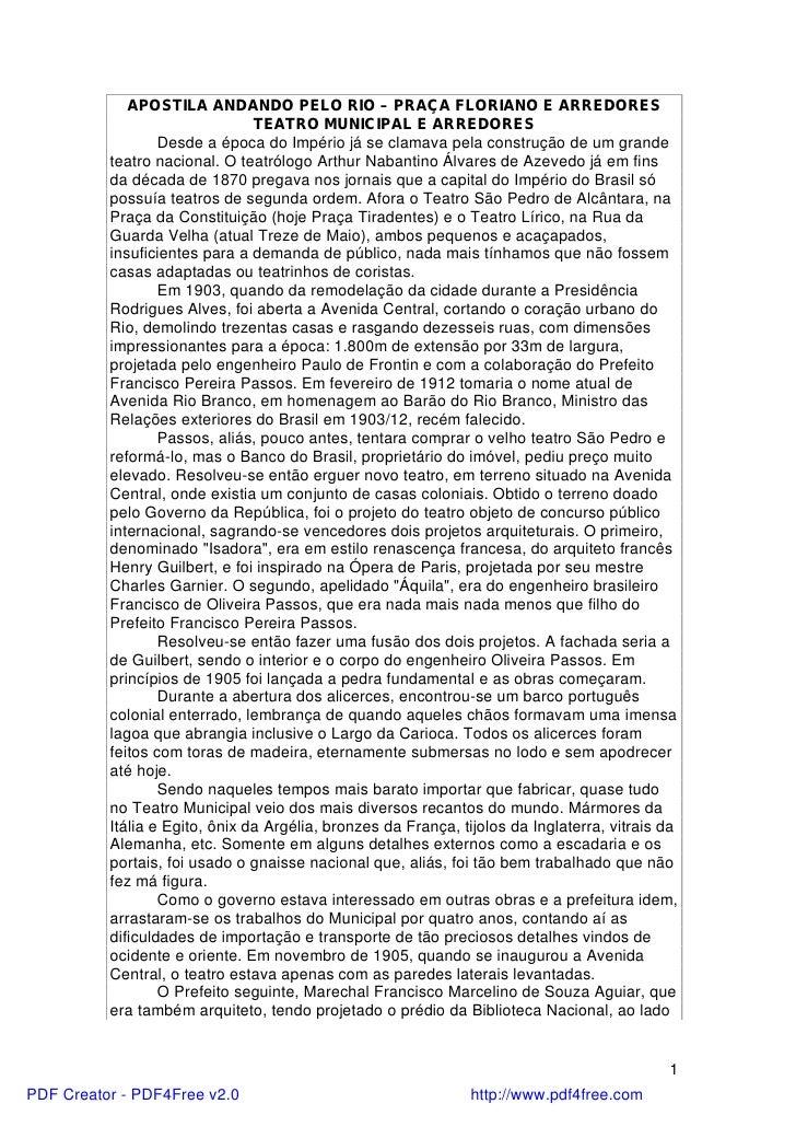 APOSTILA ANDANDO PELO RIO – PRAÇA FLORIANO E ARREDORES                                TEATRO MUNICIPAL E ARREDORES        ...