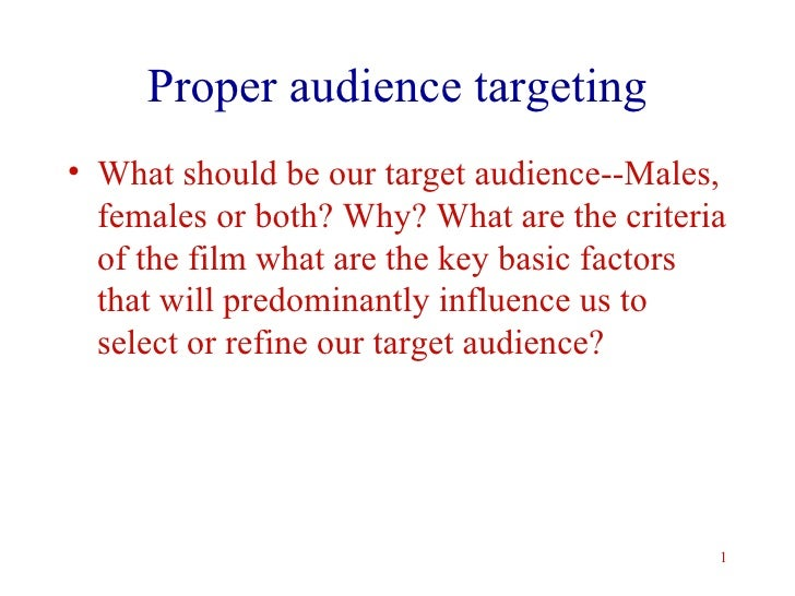Proper audience targeting <ul><li>What should be our target audience--Males, females or both? Why? What are the criteria o...