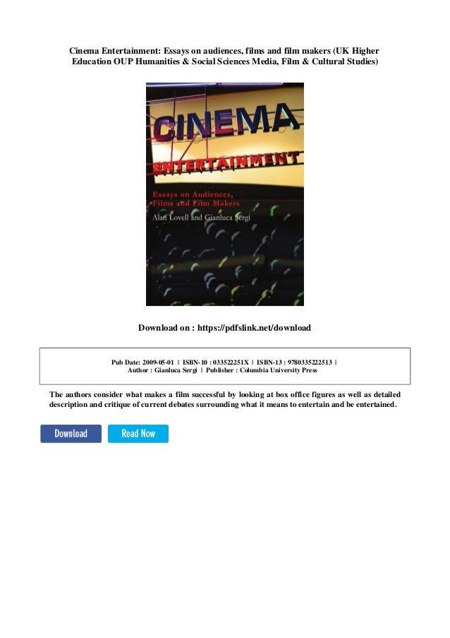 Cinema Entertainment Essays On Audiences Films And Film Makers Uk  Cinema Entertainment Essays On Audiences Films And Film Makers Uk Higher  Education Oup